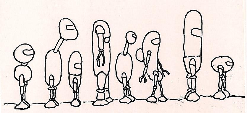 Robots standing in line