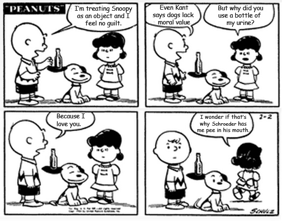 a cartoon of Charlie Brown confessing his love for Lucy, who tells him she pees in Shroeder's mouth.